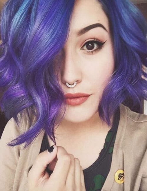 bob haircut purple hair