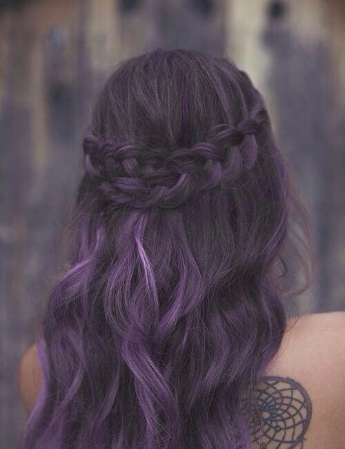 french braid back crown purple hair