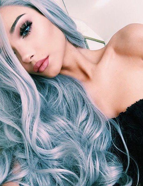 grey hair turquoise hues