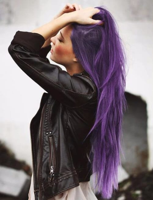 layered long purple hair