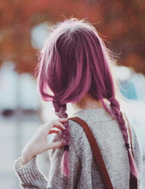 light sangria purple hair braided