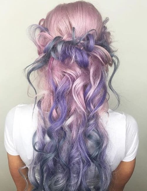 messy braid purple hair pastel ombre