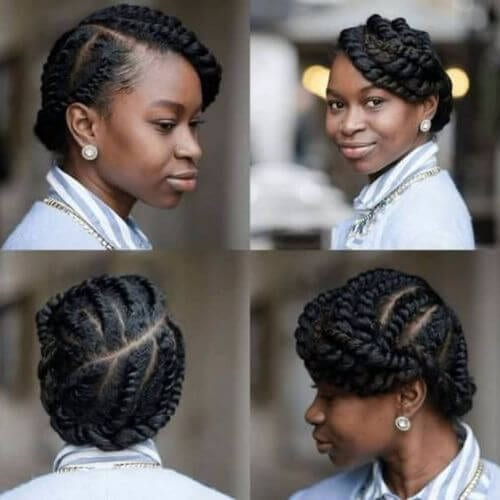 natural hairstyles with goddess braids