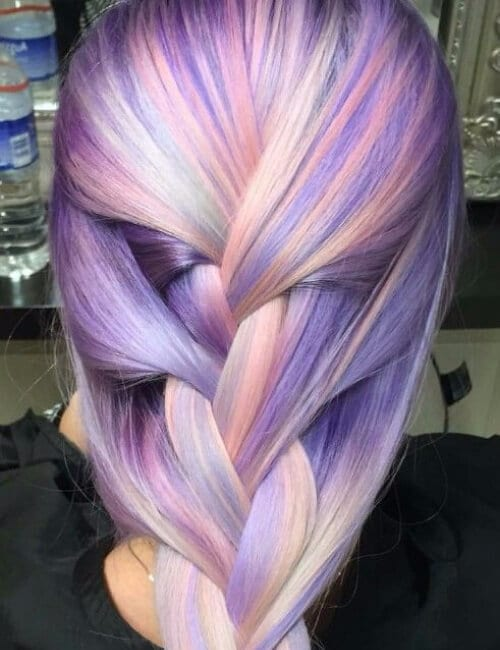 purple hair pastel braided