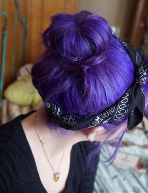 purple hair top knot bandana