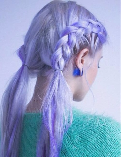 sea foam blue and purple hair french braids
