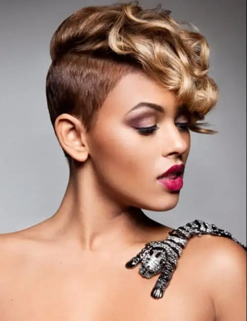 shaved sides short hairstyles for black women