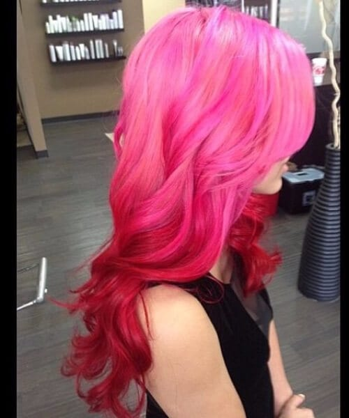 pink to red ombre hair