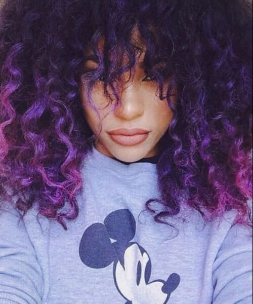 short curly purple ombre hair