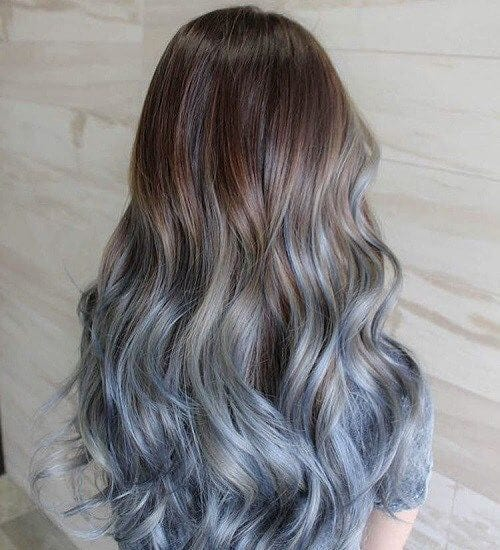 Brown To Pastel Blue Ombre hair