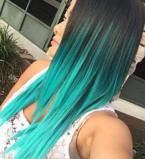 Turquoise blue ombre hair