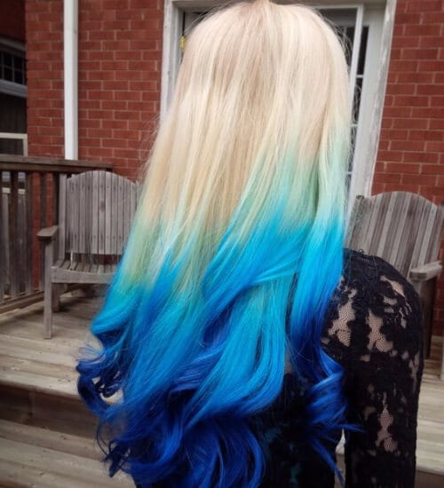 blonde and blue ombre hair