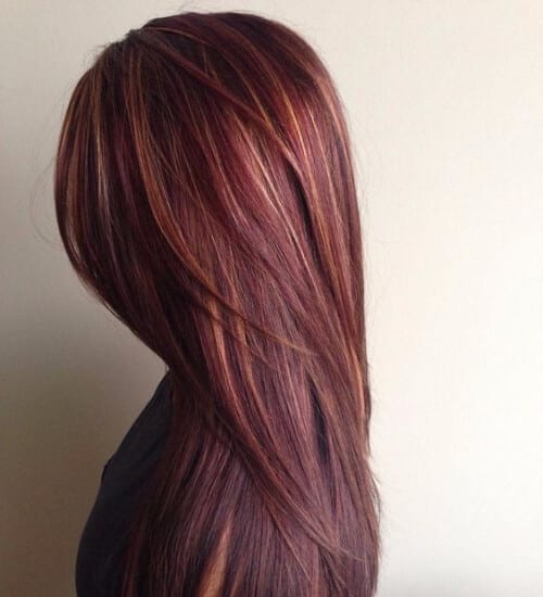chocolate brown hair with caramel and red highlights auburn hair color