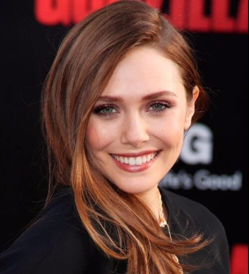 elizabeth olsen side sweep auburn hair color