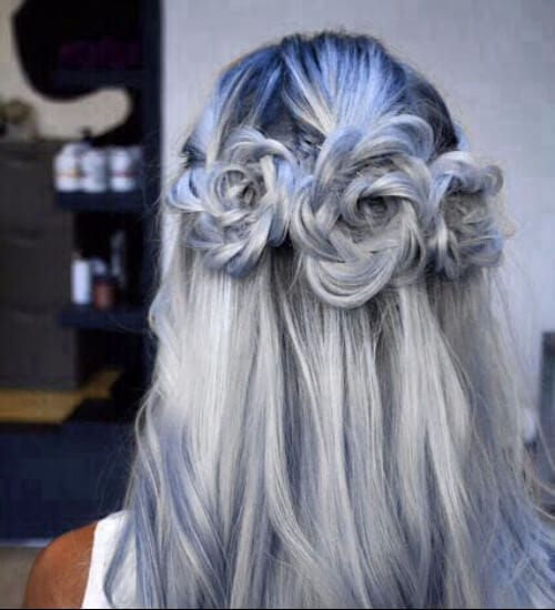 grey and blue ombre hair