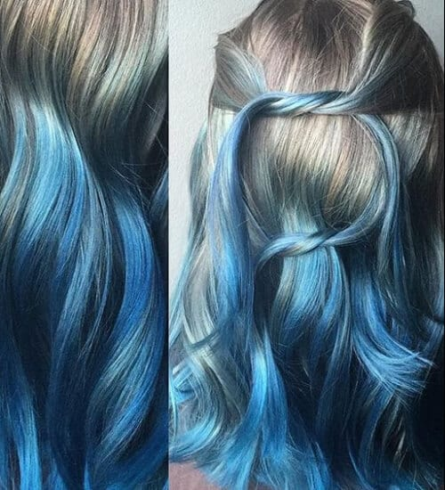 silver and blue color melt blue ombre hair