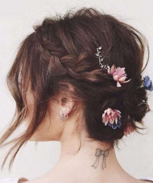 updos for short hair flowers