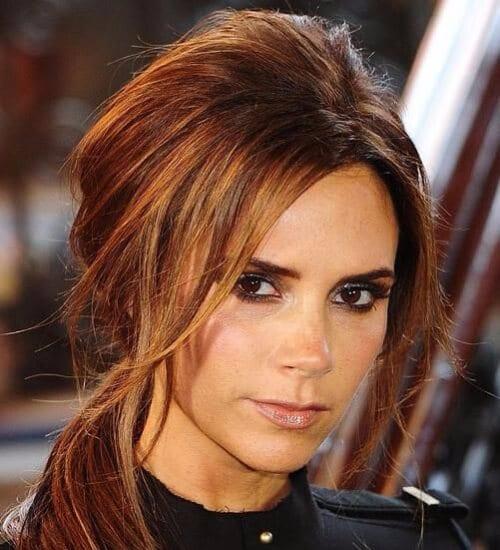 victoria beckham auburn hair color