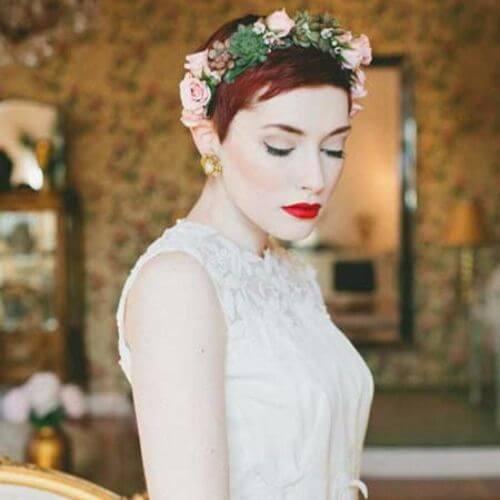 Wedding Updos Short Red Bride