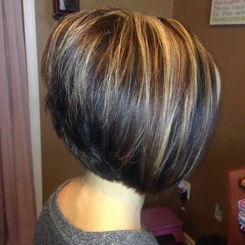 Stacked Inverted Bob with Highlights