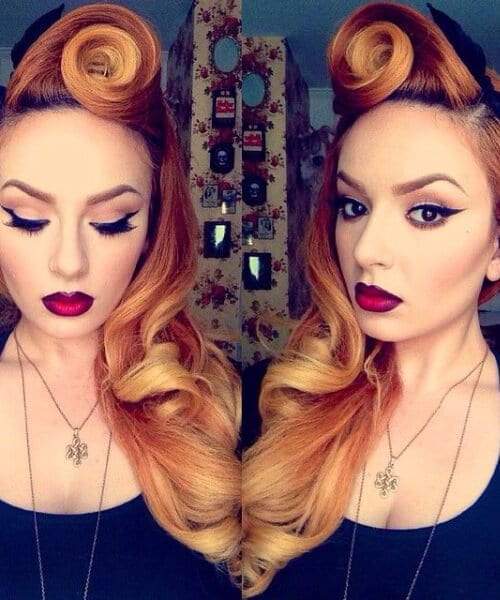 copper long hair pin up hairstyles