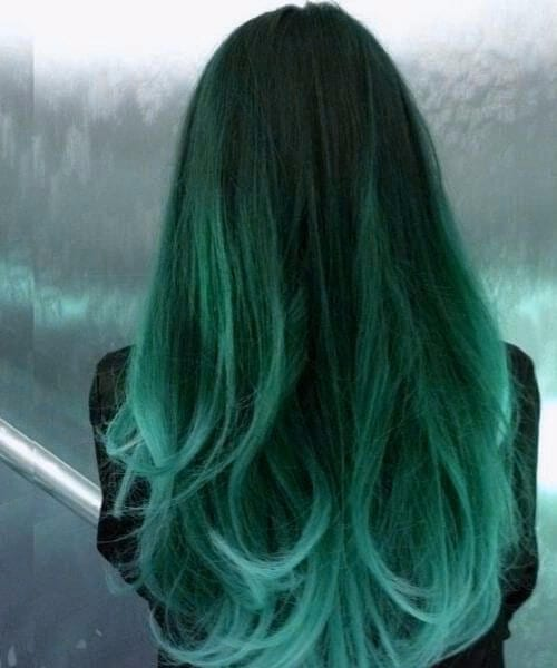 dark forest moss to sea foam green ombre hair