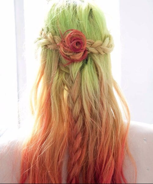 leaf green to rose red ombre hair