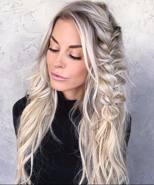 messy braid salt and pepper blonde hair