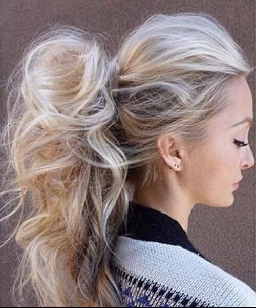 messy ponytail long hairstyles
