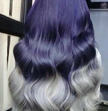 navy blue to grey ombre hair