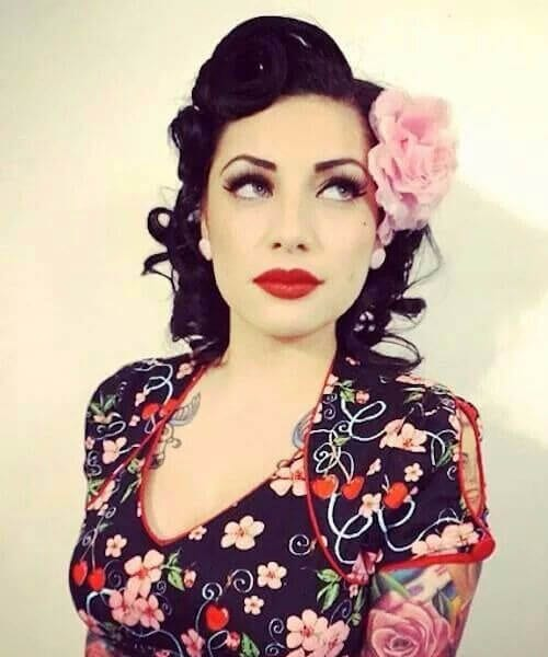 short pink peony pin up hairstyles