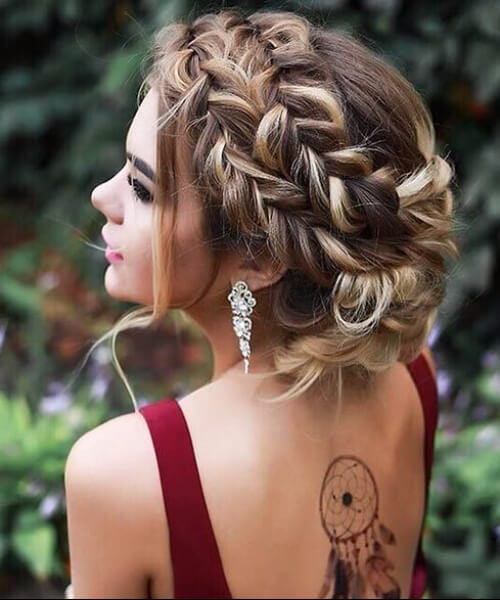 three braids crown prom long hairstyles