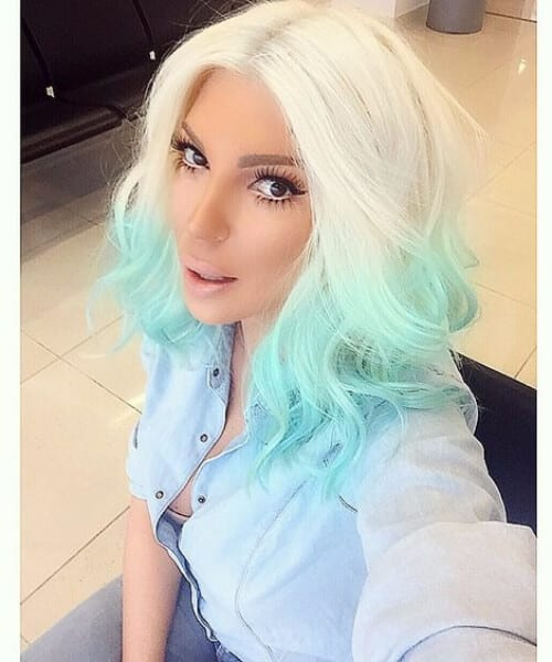white to mint green ombre hair