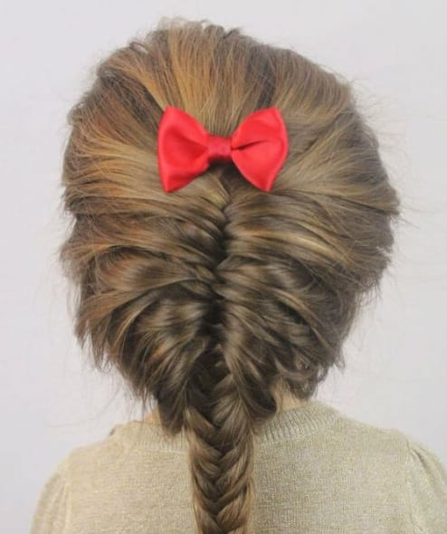 messy fishtails little girl hairstyles