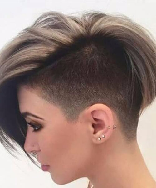 Angled Medium long pixie cut