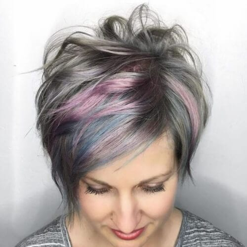 Gray Long Pixie cut With Pink Highlights