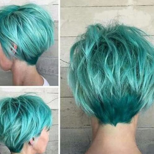 aqua long pixie cut