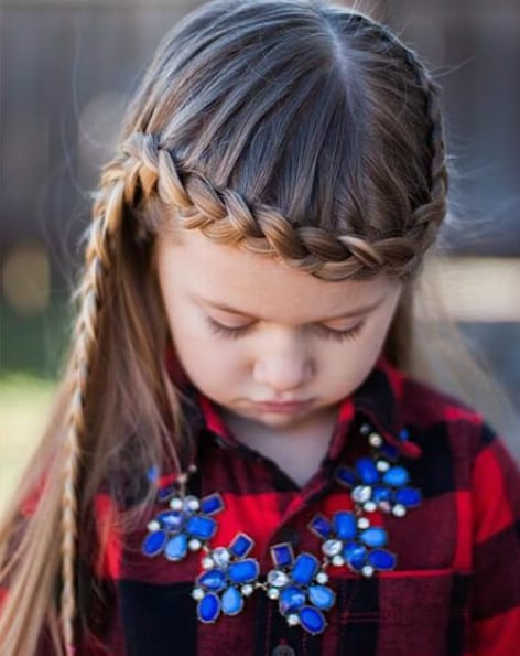 lace braid going across the forehead little girl hairstyles