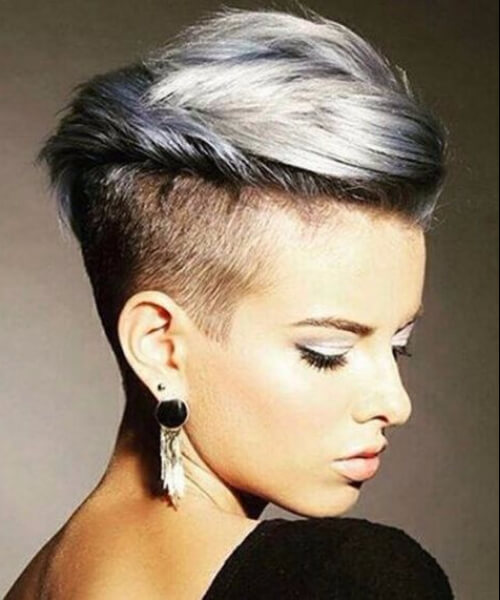 silver undercut long pixie cut