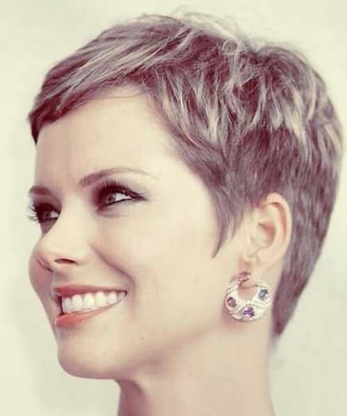 stone gray long pixie cut