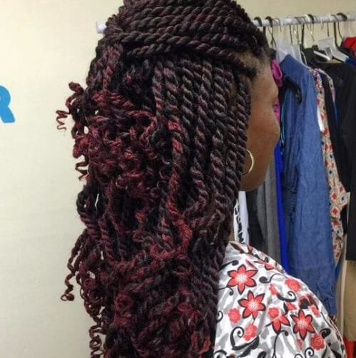 Half Updo with a Twist Crimson-colored hair kinky twists