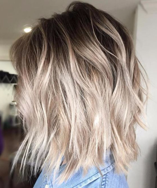 beach waves bob balayage hair color