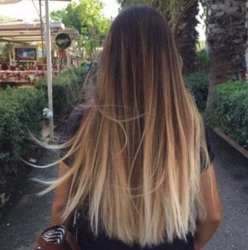 blonde over natural straight balayage hair color