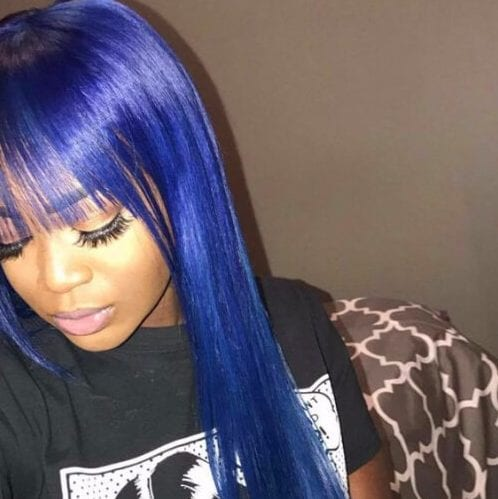 blue bangs weave hairstyles