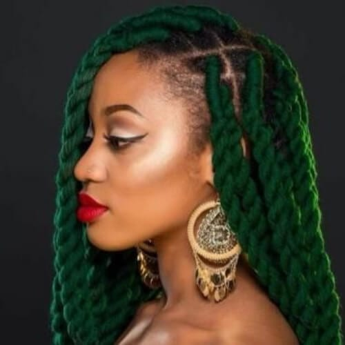 green kinky twist hairstyles