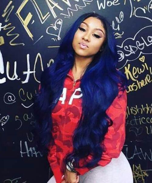 inky blue weave hairstyles