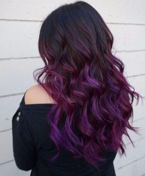 purple balayage hair color