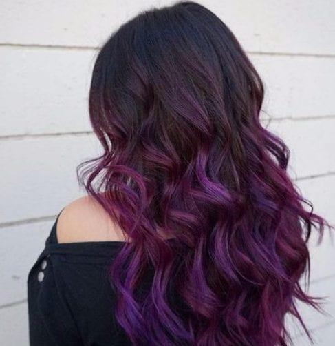 púrpura balayage color de pelo