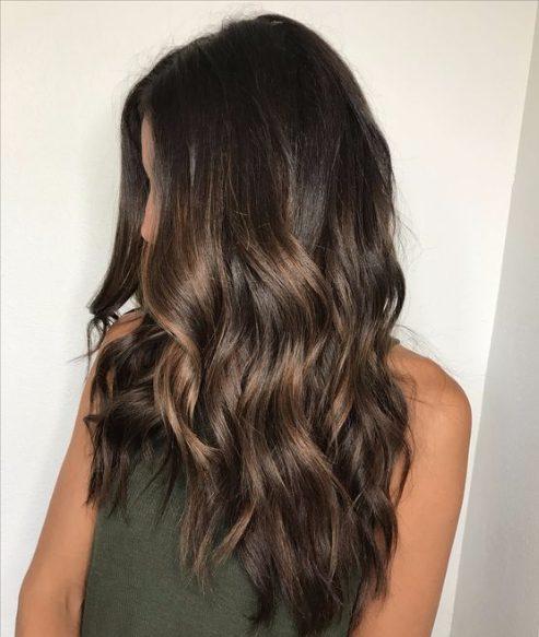 rich brunette caramel balayage hair color
