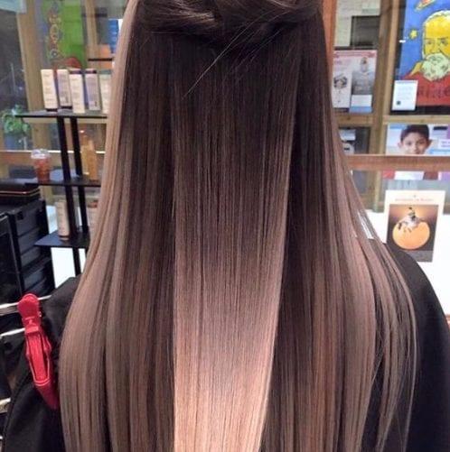rosas y rubia balayage color de pelo